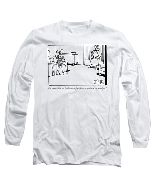 A Man Reading The Newspaper In His Living Room Long Sleeve T-Shirt