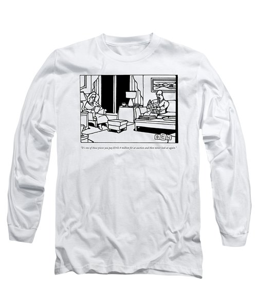 A Man Reads A Newspaper In His Living Room Long Sleeve T-Shirt