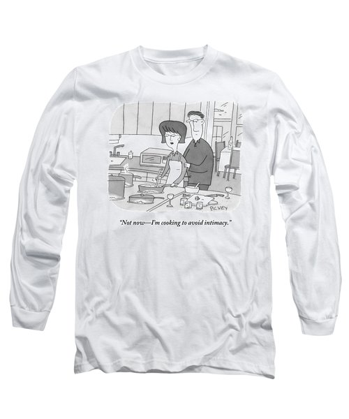 A Man Rubs The Back Of A Woman As She Prepares Long Sleeve T-Shirt