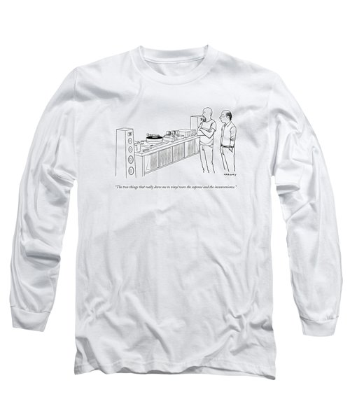 A Man Shows Another Man His Extensive Collection Long Sleeve T-Shirt