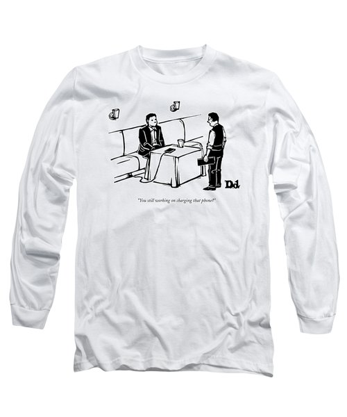 A Man Sits At A Restaurant Table Long Sleeve T-Shirt