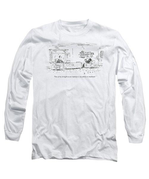 A Man Sits In An Office Opposite His Boss' Desk Long Sleeve T-Shirt