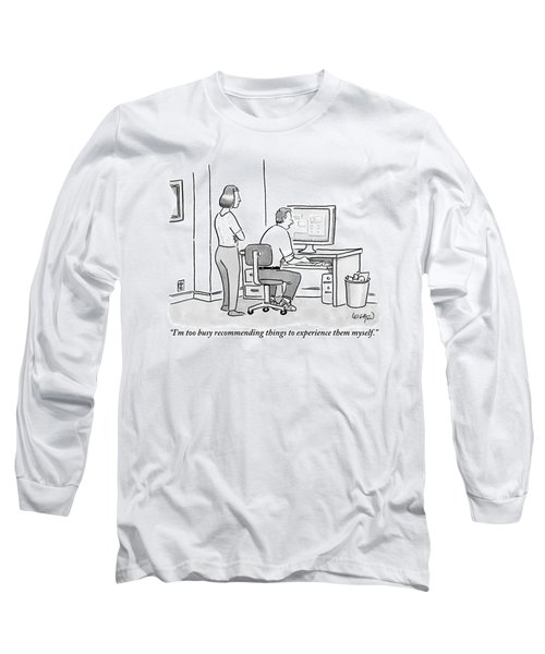 A Man Sits In Front Of His Computer. His Wife Or Long Sleeve T-Shirt