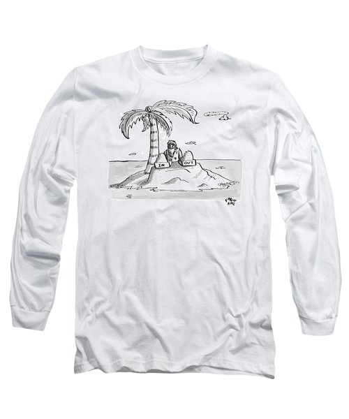 A Man Sits On A Deserted Island With Two Boxes: Long Sleeve T-Shirt