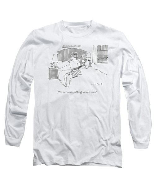 A Man Sits Tied Up In His Underwear On The Bed Long Sleeve T-Shirt