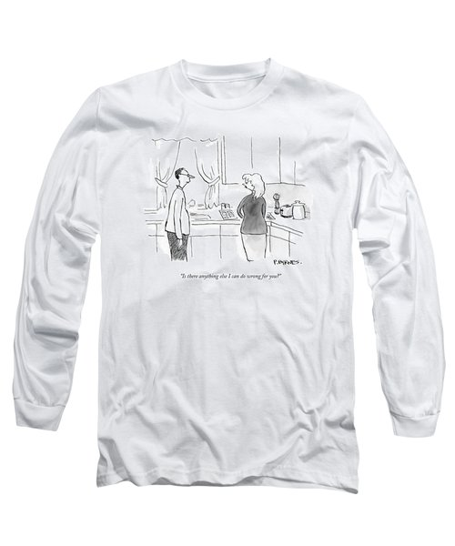 A Man Speaks To A Woman In A Kitchen Long Sleeve T-Shirt