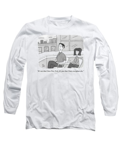 A Man Speaks To A Woman On A Balcony In The City Long Sleeve T-Shirt