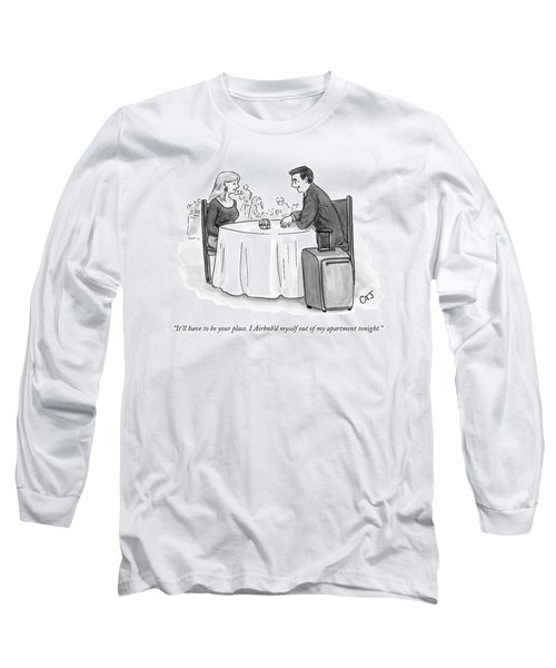 A Man Speaks To A Woman On A Date At A Restaurant Long Sleeve T-Shirt