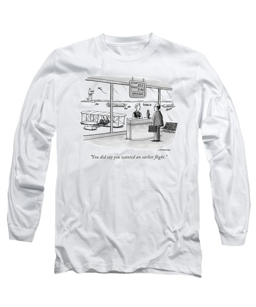 A Man Speaks To An Airport Attendant Long Sleeve T-Shirt