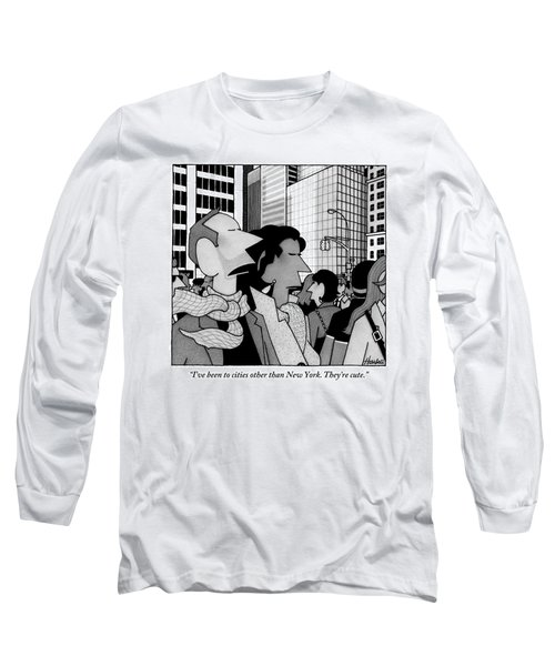 A Man Speaks To His Wife In The Midst Of New York Long Sleeve T-Shirt