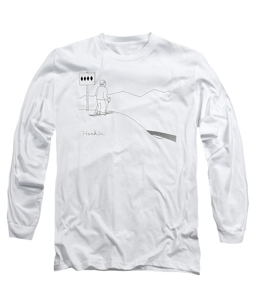 A Man Stands At The Top Of A Ski Slope Long Sleeve T-Shirt