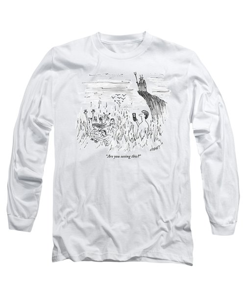 A Man Stands In The Fires Of Hell With The Devil Long Sleeve T-Shirt