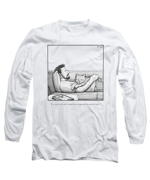 A Man Talking To The Cat Lying On His Stomach Long Sleeve T-Shirt