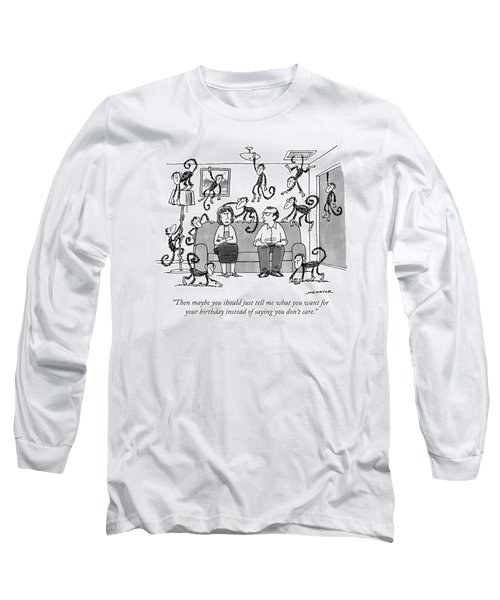 A Man Talks To His Wife On Their Couch Long Sleeve T-Shirt
