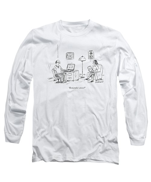 A Man Using A Computer Speaks To A Woman Who Long Sleeve T-Shirt
