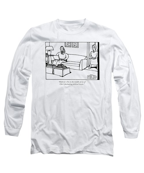 A Man Using A Laptop On A Couch Talks To A Woman Long Sleeve T-Shirt