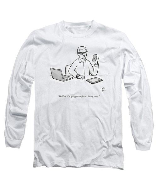 A Man Wearing Google Glasses Long Sleeve T-Shirt