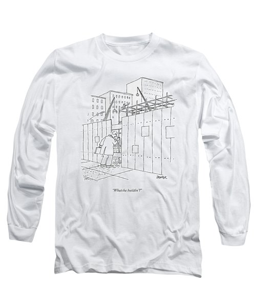 A Man With A Briefcase Looks Downwards Long Sleeve T-Shirt