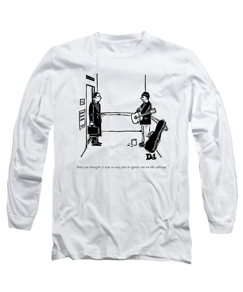 A Man With A Guitar And Open Guitar Case Stands Long Sleeve T-Shirt