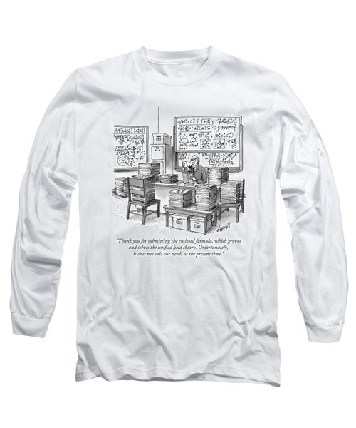 A Mathematician In A Room Full Of Stacked Papers Long Sleeve T-Shirt