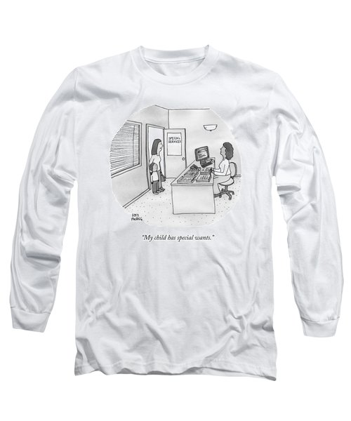 A Mother Brings Her Son Into A Room Labeled Long Sleeve T-Shirt