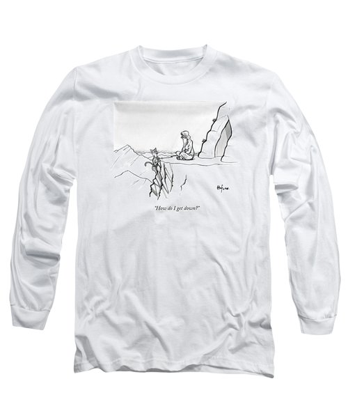 A Mountain Lion Hangs Off A Cliff Long Sleeve T-Shirt