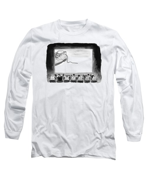 A Movie Theater Audience Of All Cats Watches Long Sleeve T-Shirt