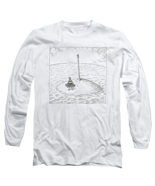 A Person Stands On A Desert Island. The Tree Long Sleeve T-Shirt