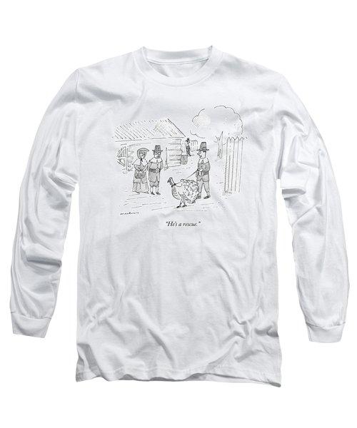 A Pilgrim Walks A Turkey On A Leash Long Sleeve T-Shirt