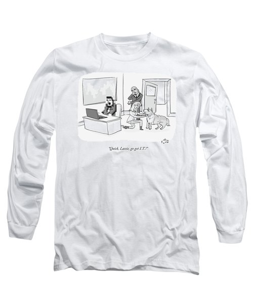A Pixelated Man Sits Frozen In Front Long Sleeve T-Shirt