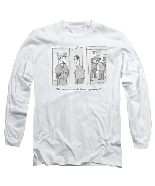A Policeman With A Martini Glass Stands Long Sleeve T-Shirt
