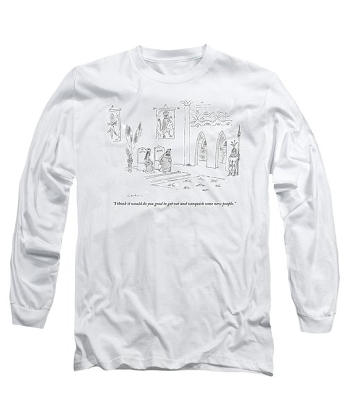 A Queen Speaks To Her Bored-looking Husband Long Sleeve T-Shirt