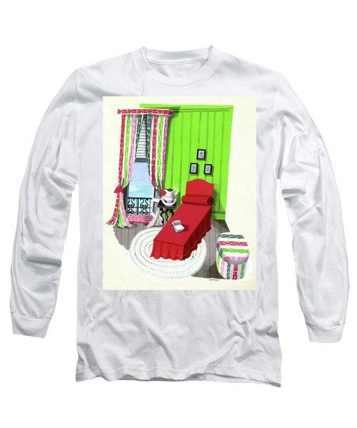 A Red Bed In A Bedroom Long Sleeve T-Shirt