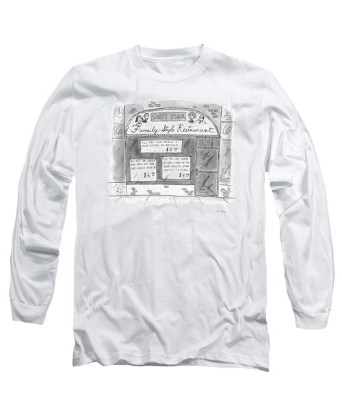 A Restaurant With Various Signs Long Sleeve T-Shirt