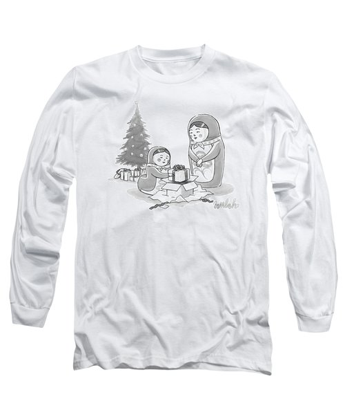 A Russian Doll Mother And Daughter Open Christmas Long Sleeve T-Shirt