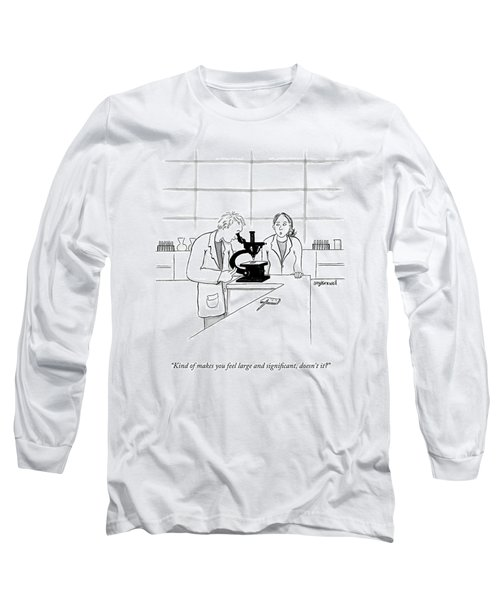 A Scientist Looking Into A Microscope Long Sleeve T-Shirt