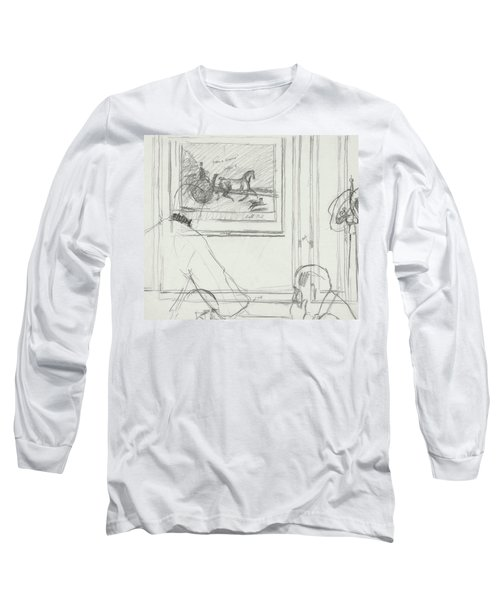 A Sketch Of A Horse Painting At A Bar Long Sleeve T-Shirt
