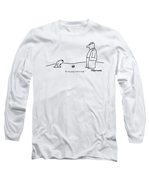 A Small Dog Sits A Short Distance Away Long Sleeve T-Shirt