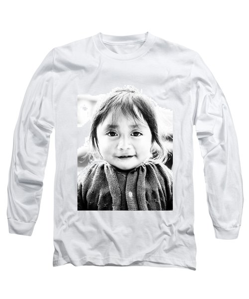 A Small Guatemalam Life - Black And White Long Sleeve T-Shirt by Shelby  Young
