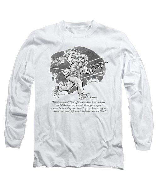 A Soldier Holding A Gun Runs Through Battle Long Sleeve T-Shirt