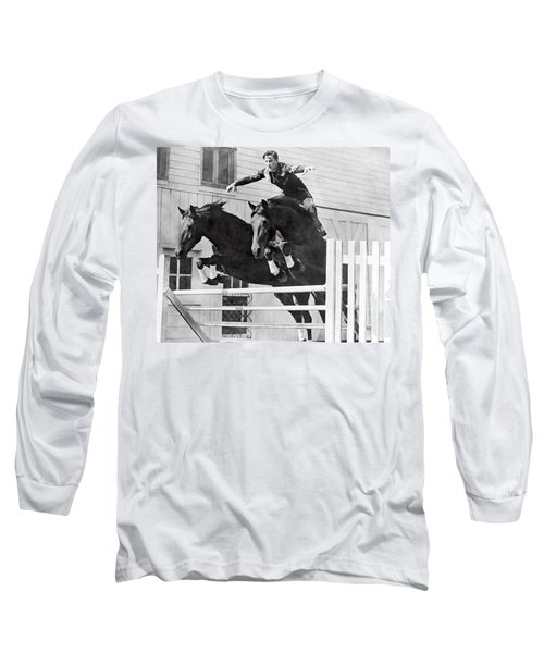 A Stunt Rider On Two Horses. Long Sleeve T-Shirt