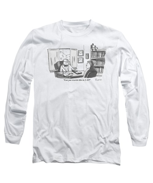 A Suited Man Behind A Desk Addresses A Writer Long Sleeve T-Shirt