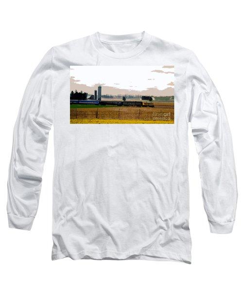 Long Sleeve T-Shirt featuring the photograph A Train Runs Through It by Nina Silver