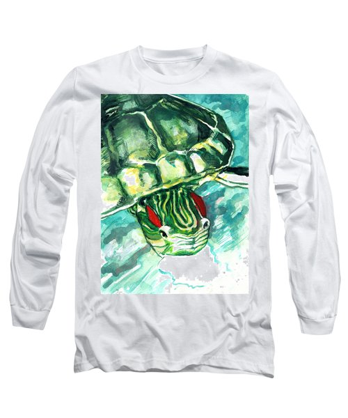 A Turtle Who Likes To Eat Fish Long Sleeve T-Shirt