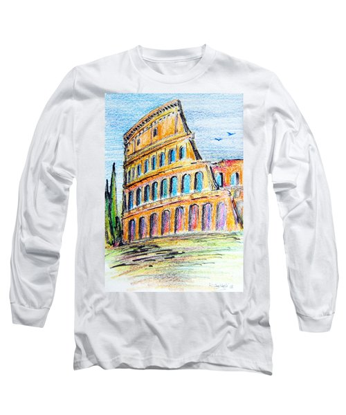 A View Of The Colosseo In Rome Long Sleeve T-Shirt