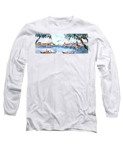Long Sleeve T-Shirt featuring the painting A View Of The Historical Peninsula From Uskudar - Istanbul by Faruk Koksal