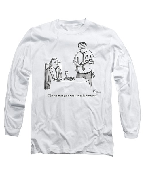 A Waiter Describes The Bottle Of Wine He Holds Long Sleeve T-Shirt