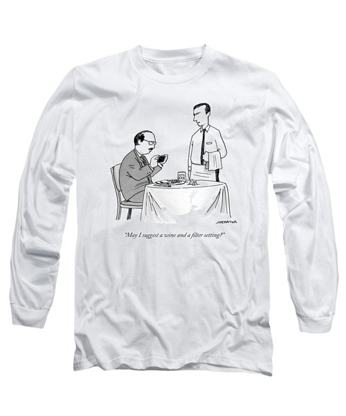 A Waiter Speaks To A Customer Who Is Taking Long Sleeve T-Shirt