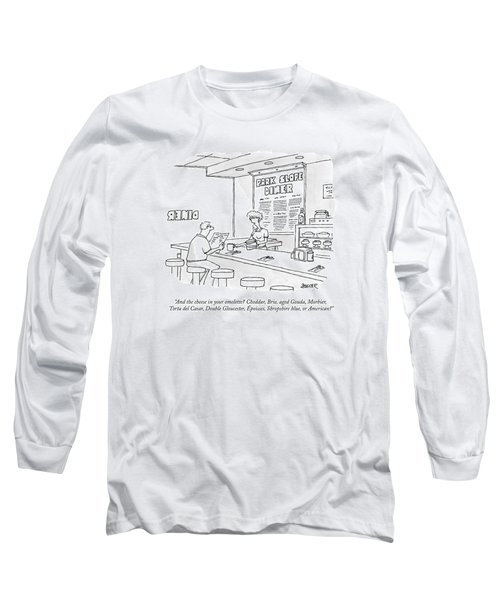 A Waitress Takes A Man's Order In A Diner Long Sleeve T-Shirt