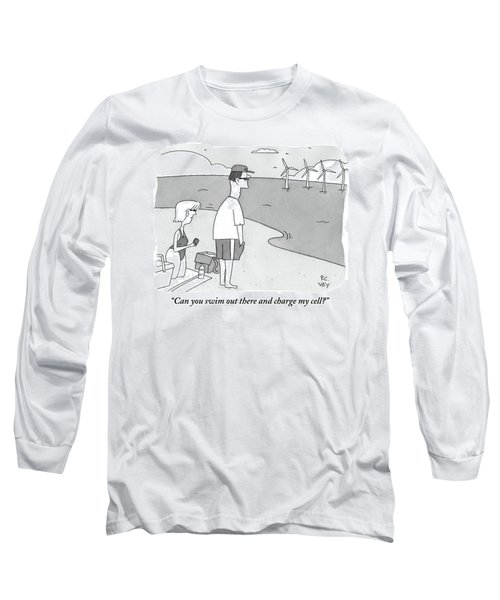 A Wife Speaks To Her Husband On The Beach Long Sleeve T-Shirt